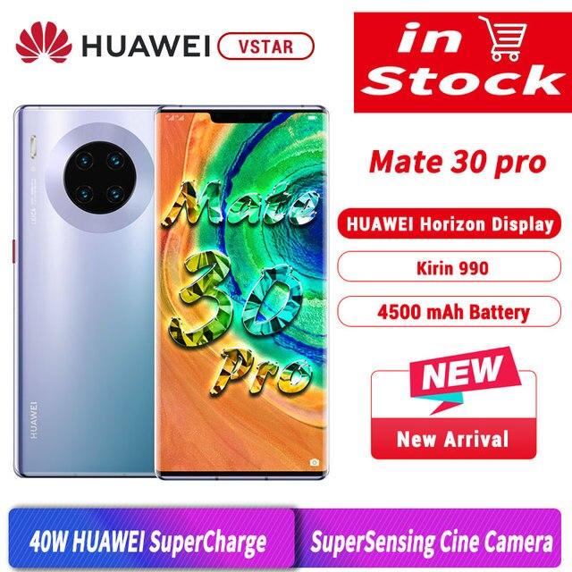 هاتف HUAWEI Mate 30 Pro الأصلي الإصدار العالمي بشاشة 6.53 بوصة ومعالج Kirin990 ثماني النواة ونظام تشغيل أندرويد 10 مع مستشعر إيماءة وشاشة 4500 مللي أمبير في الساعة