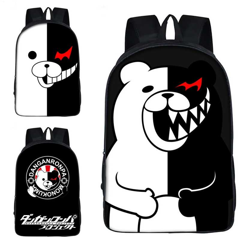 Danganronpa: Trigger Happy Havoc Cartoon monokuma School Bag Travel Shoulder Bags Backpack Teenager Satchel Student Knapsack New