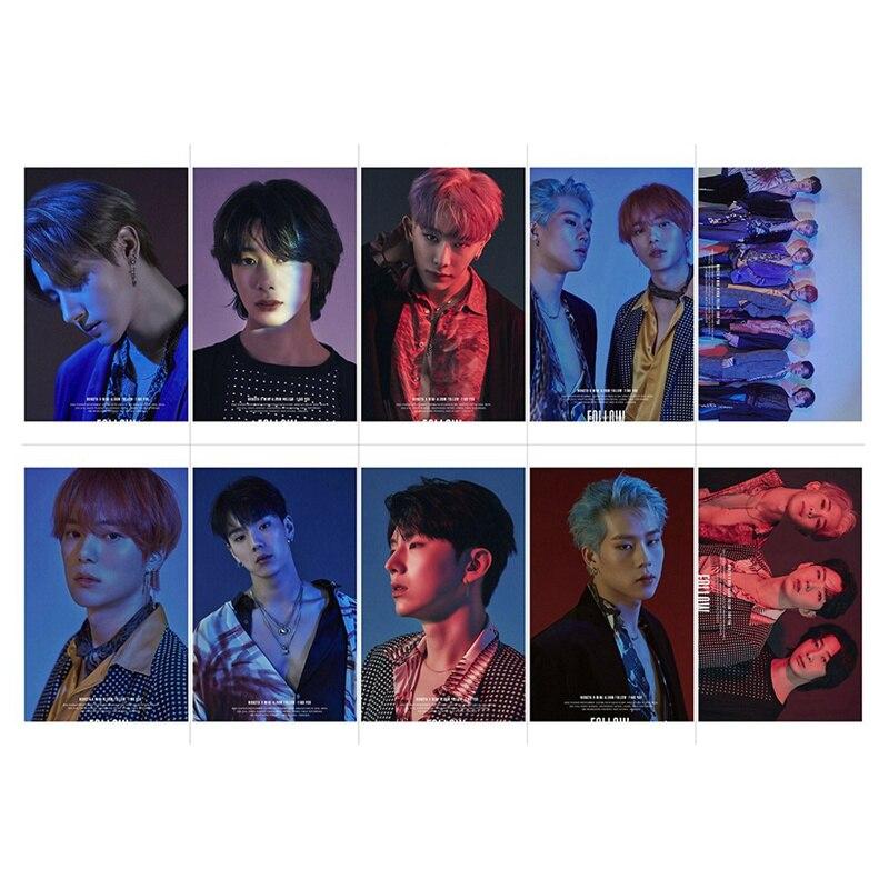 10pcs/set MONSTA X Album Sticky Photo Cards New Fashion Crystal Card Stickers