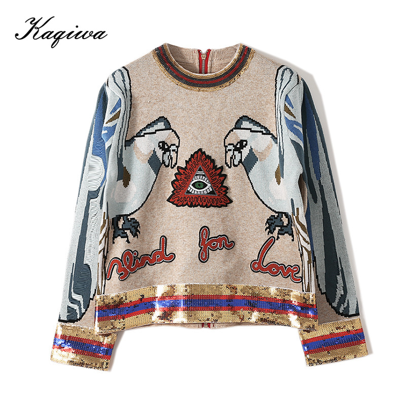 2020 Autumn Women Sequin Top Women Long Sleeve Sweater Animal Embroidery Back Zipper Wool Knitted Pullover Ladies Casual Top