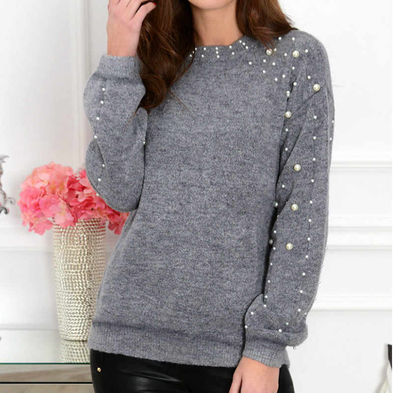 2019 Autumn Women Beading Knitted Top Loose Jumper Ladies Winter Warm Basic Pullover Tops Sweater