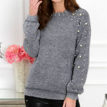 2019 Autumn Women Knitted Beading Sweater  Loose Jumper Ladies Winter Warm Basic Pullover Tops