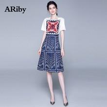 купить ARiby Women Printed Elegant Dress 2019 Summer Fashion Office Lady Slimming Round Neck Short Sleeve A-Line Knee-Length Dress по цене 1563.15 рублей