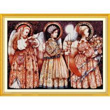 Joy SundayChristmas Eve Angels Conjunto de bordado artesanal, Kits de punto de cruz, costura con cuentas impresas en lienzo, tela de algodón para habitación de bebé