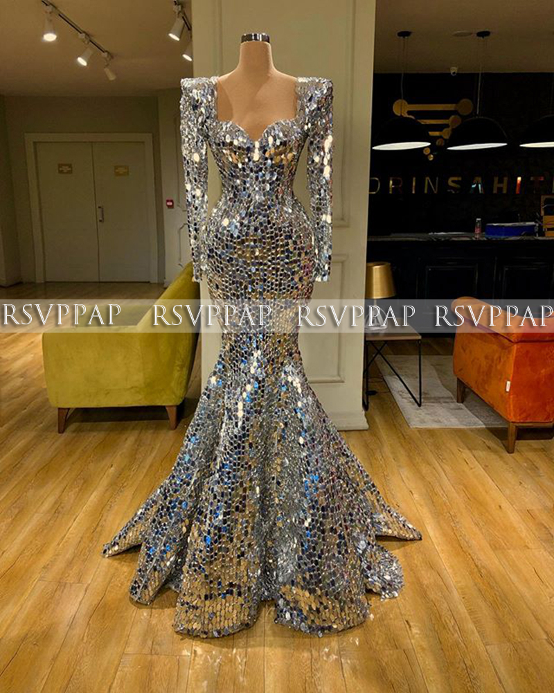 Sparkly Evening Dresses Long Sleeve Sweetheart Sexy Mermaid Silver Sequin Arabic Women Dubai Design Formal Gowns