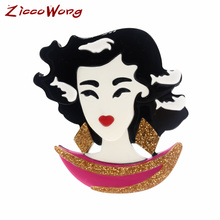 ZiccoWong Fashion Design Pretty Lady Girl Acrylic Brooch Pins For Women Long Hair Princess Badge Jewelry sexemara new fashion acrylic ethnic girl brooch badge colorful exaggerate headwear personality figure brooch pins for women gift