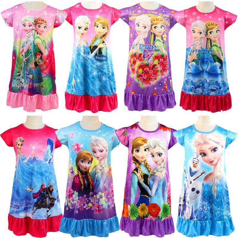2020 New Frozen 2 Anna Elsa Princess Girl Dress Nightdress Baby Pajamas Cotton Nightgown Kids Home Dress Kids Summer Sleepwear