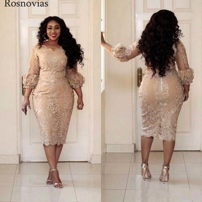 Arabic Short Plus Size Mother Of The Bride Dresses 2019 Scoop Long Sleeves Tee Length Lace Appliques Mother Wedding Guest Gowns