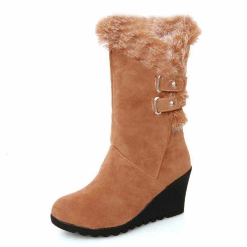 Nieuwe winter vrouwen snowboots wig met riem gesp hoge buis warm vrouwen laarzen casual mode zapatos de mujer schoenen vrouw