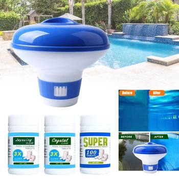 100pcs Tablets Disinfection Pills Swimming Pool Chlorine Tablets Instant Effervescent Pipes Cleaning Floating Pool Dispenser 50 pieces of swimming pool instant disinfection tablets chlorine dioxide effervescent tablets disinfectant chlorine disinfectant