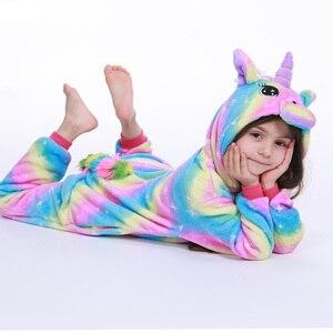 Image 4 - Winter Boys Stitch Pajamas Kids Cosplay Stitch Pyjamas Sleepwear Oneise Girls Unicorn Pajama Kigurumi Pijamas for 4 12Yrs