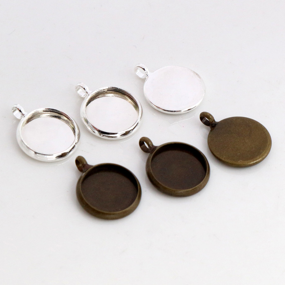 10mm 20pcs Brass Material Silver Plated Bronze Plated Vertical Hanging Style Cameo Setting Base Cabochon Setting High Quality