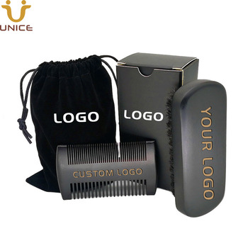 MOQ 100 pcs Amazon Hot Sale Black Beard Kit Custom LOGO Beard Care Set Beard Combs & Brush & Gift Box & Velvet Bag with LOGOs