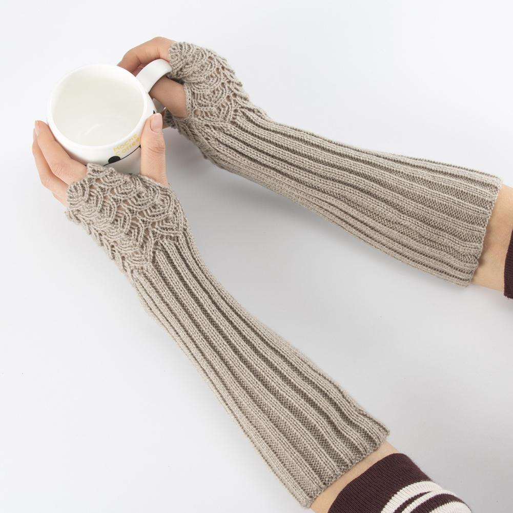 Lady Solid Color Knitted Arm Warmer Sleeve Winter Stretch Fingerless Long Gloves