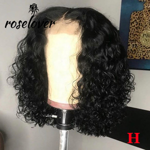 150% 4*4 Lace Closure Human Hair Wigs Pre Plucked with Baby Hair Middle Part Curly Lace Closure Wig Peruvian Remy Short Bob Wigs(China)