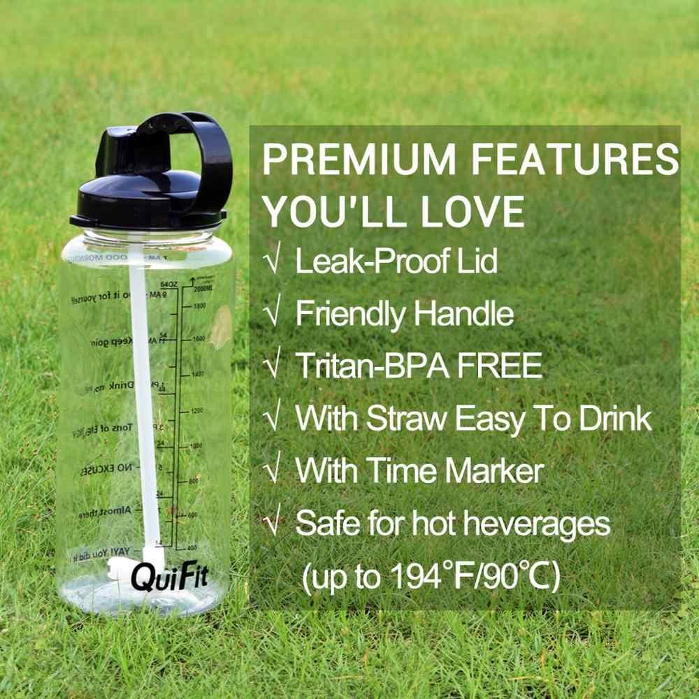 QuiFit 2L 3.8L galón Tritan deportes botella de agua con paja proteína grande coctelera para bebidas botellas calabaza taza jarra BPA libre de gimnasio al aire libre