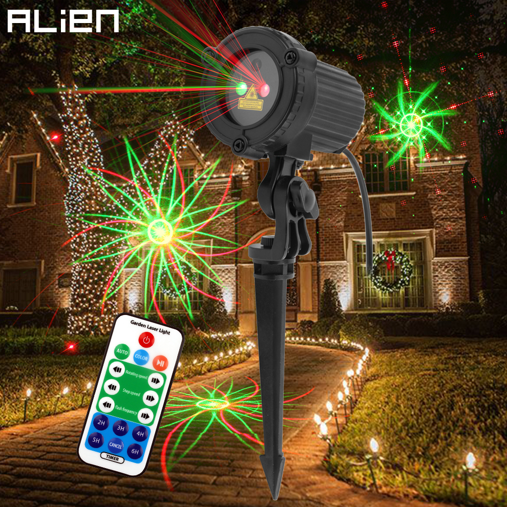 ALIEN Remote Red-green 8 Patterns Christmas Outdoor Waterproof Laser Projector Lights For Garden Xmas Decoration Home House Tree