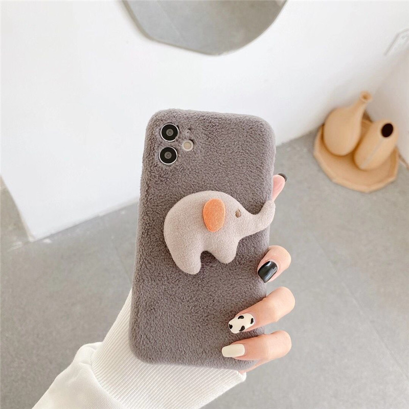 Korea Winter Furry Elephant Rabbit Cartoon Soft TPU Shockproof Case For iPhone 11 Pro Max