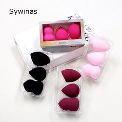 Sywinas 3 adet/kutu büyük makyaj sünger puf seti kozmetik makyaj vakfı mikrofiber sünger pudra pufu.