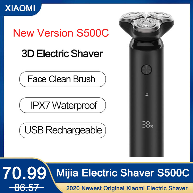 Xiaomi Mijia Electric Shaver Razor S500C Men Face Cleaning Brush Temples Trimmer Washable Rechargeable 3D Shaving Beard Machine