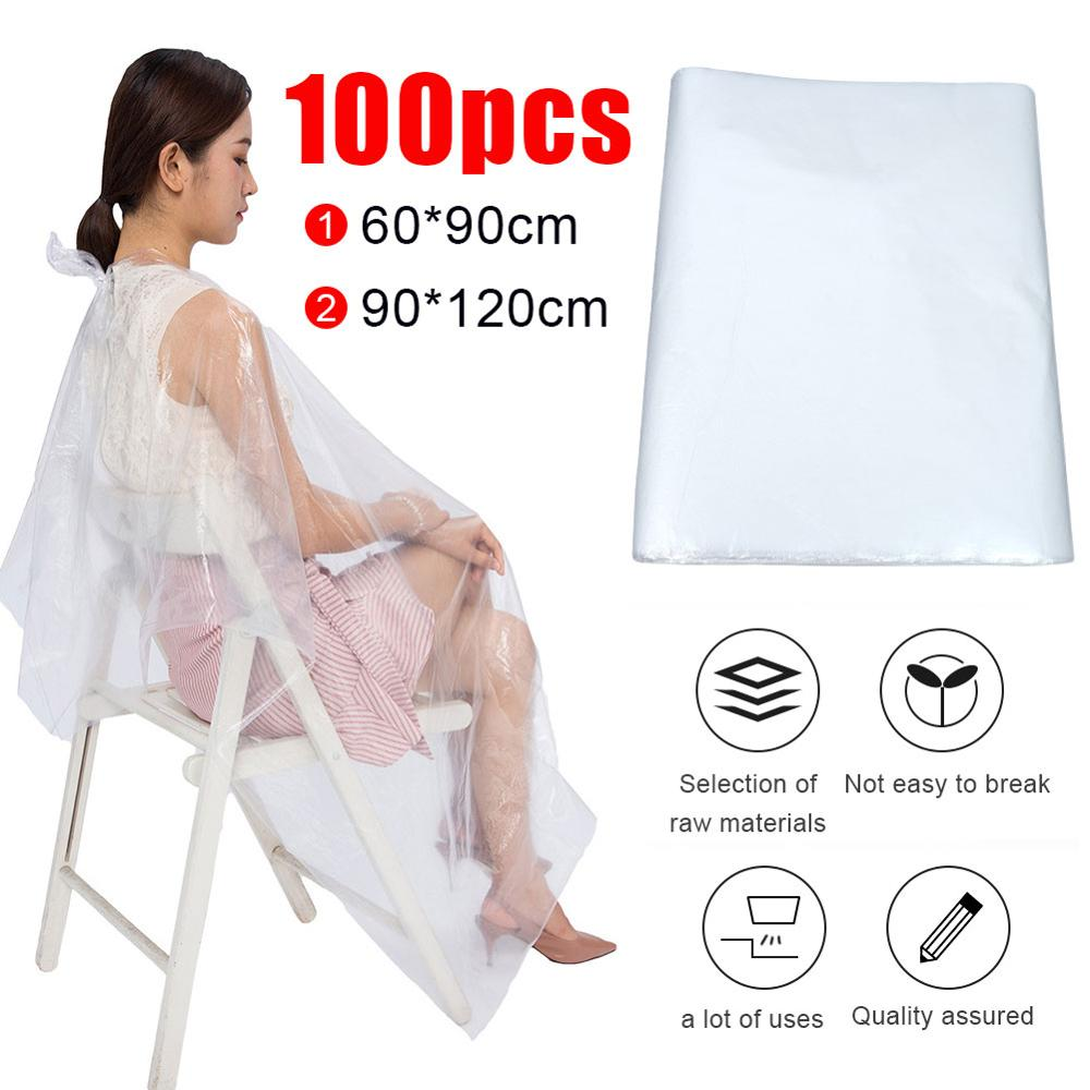 60*90/120*90cm 100 Pcs Disposable Hairdressing Capes PE Waterproof Transparent Hairdressing Shawl Hair Dyeing Tool