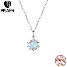 BISAER Sunny Sun Opal Necklace 925 Sterling Silver Pendant 45cm Long Chain Link For Women Wedding Best Gift Jewelry ECN399 jewelrypalace luxury pear cut 7 4ct created emerald solid 925 sterling silver pendant necklace 45cm chain for women 2018 hot