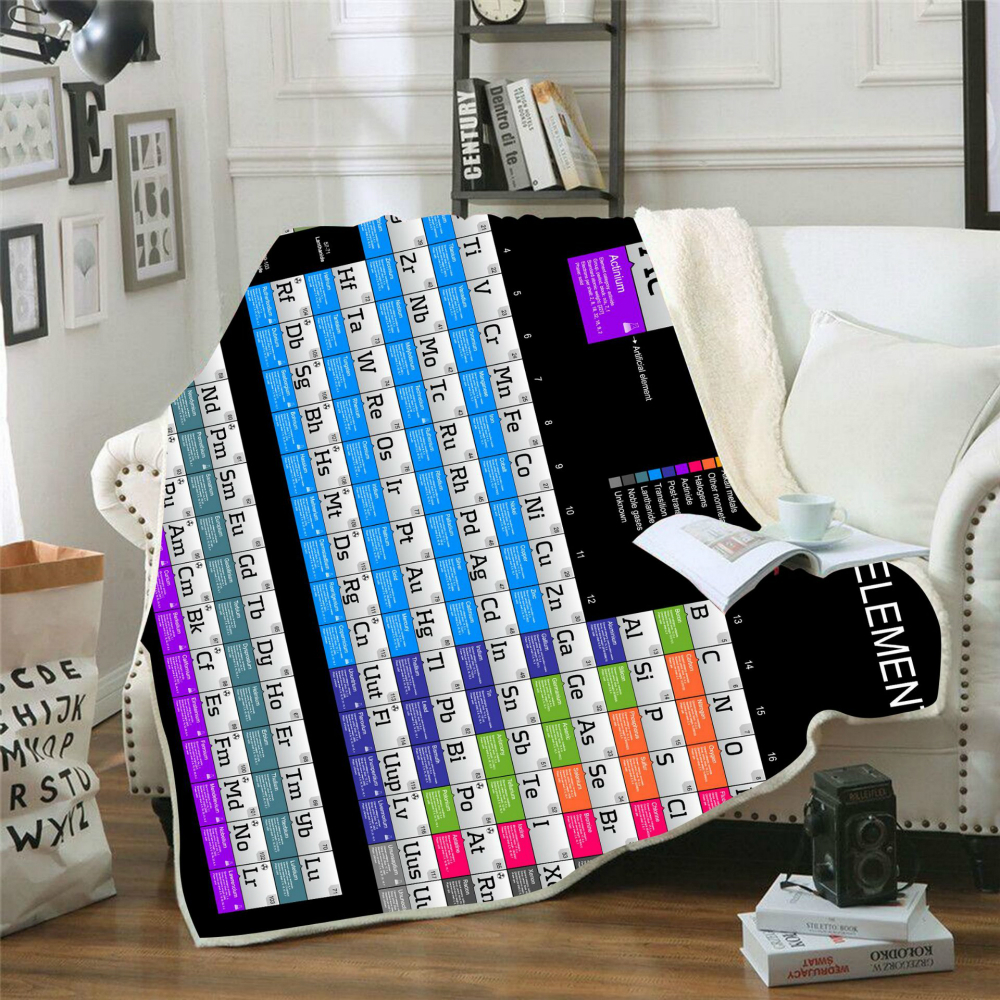 Drop Shipping Throw Blanket Printed Element Periodic Table For Sofa Velvet Plush Sherpa Fleece Blanket Couch Cover Bedspread in Blankets from Home Garden