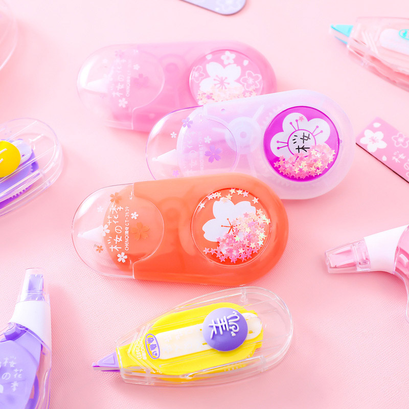 1PC Kawaii Lovely Cherry Correction Tape Cute Plastic Corrector Tape With Bookmark For Kids Korean Stationery School Supplies