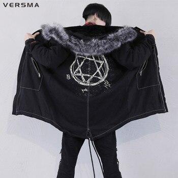 VERSMA Korean Harajuku Warm Men Winter Jacket Coat Windbreaker Hip Hop Streetwear Russian Velvet Long Jackets Coats Dropshipping