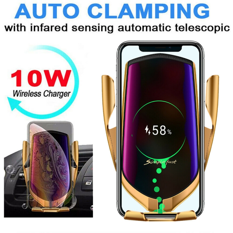 Automatic Clamping Car Wireless Charger 10W Quick Charge Infrared Sensor Phone Holder for iPhone 11 Pro XR X Huawei Xiaomi image