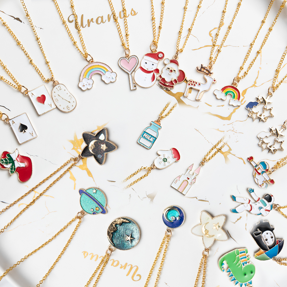 Anime Character Cartoon Necklaces Women Girl Children Christmas Deer Stocking Santa Claus Planet Moon Star Necklace&Pendant Gift