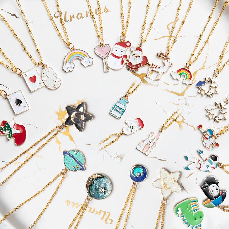 Ожерелья с аниме персонажами из мультфильмов, женские, девочки, дети, Рождественский олень, чулки, Санта-Клаус, планета, искусственная кожа, ...