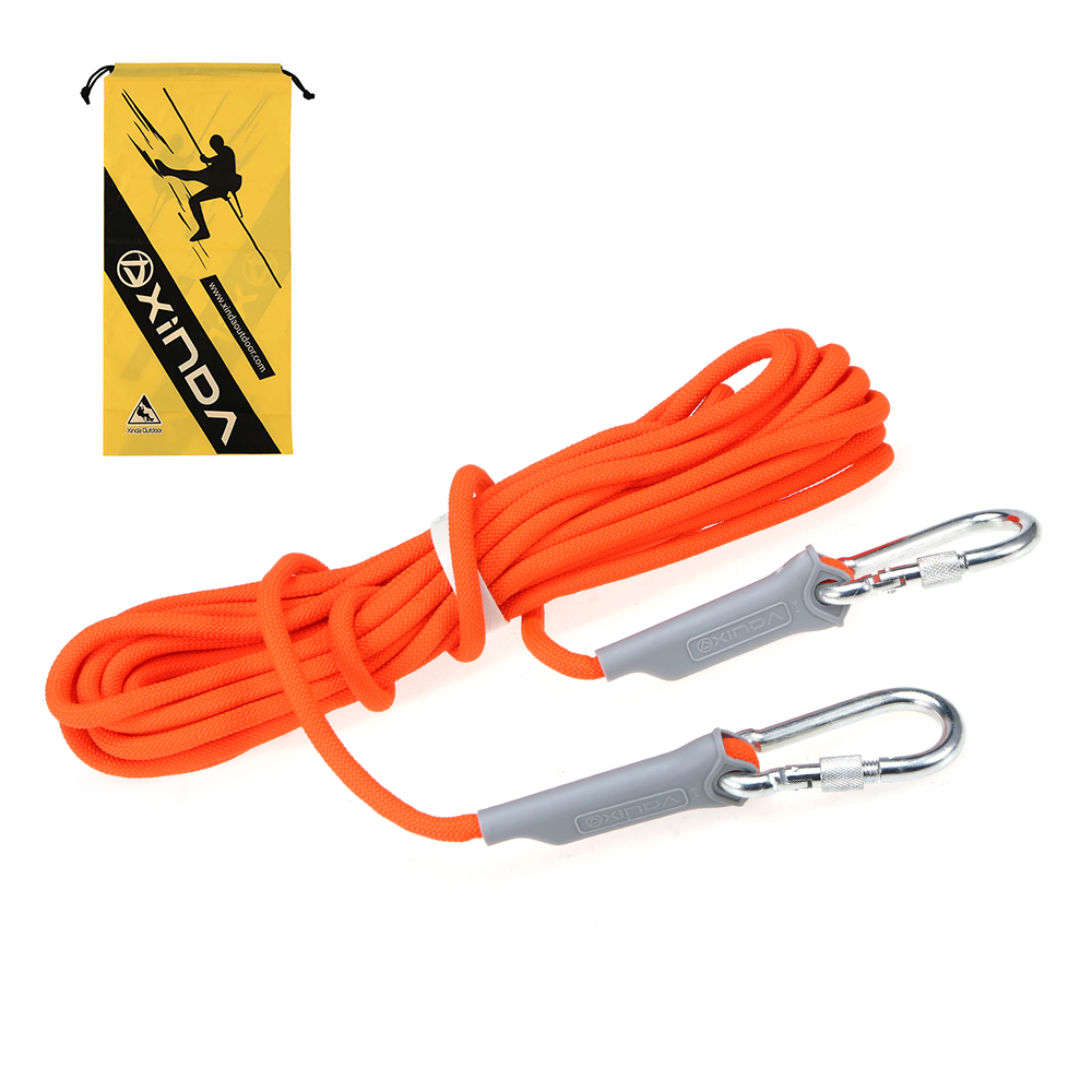 10M 9.5MM Diameter  Professional Rock Climbing Cord Outdoors Climbing Rope With Carabiner Safety Rope Climbing Equipment 12KN