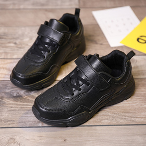 Image 4 - Kids Running Shoes Boys Rubber Sole Boys Walking Shoe Children Comfortable School Boy Sneakers Black Leather Sport Kid Shoes