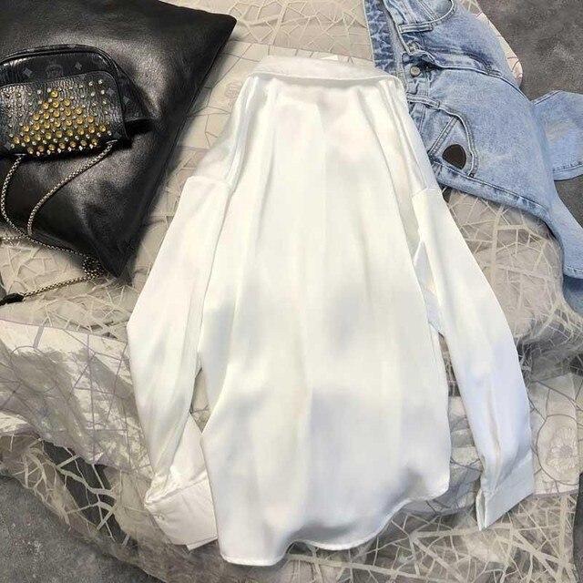 New Spring Autumn Women Fashion Long Sleeves Satin Blouse Vintage Femme Oversized Street Shirts Elegant Imitation Silk Blouse 4