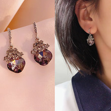 Stud Earrings for Women Black Crystal Flower Geometric Fashion Earrings Women Jewelry Wholesale