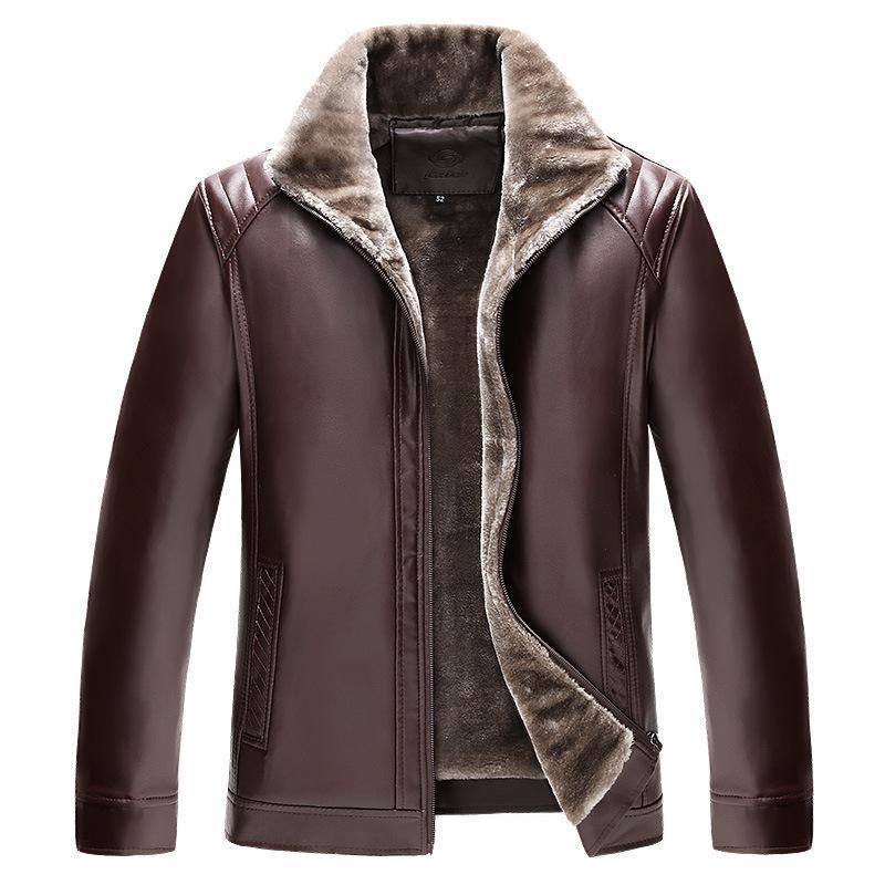 M-4XL 2019 Men Winter Thick Fleece PU Leather Jackets Coats Hombre Male Casual Fashion Slim Fit Large Size Zip Jackets Men XXXXL