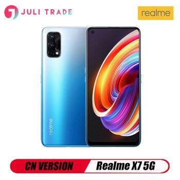 Перейти на Алиэкспресс и купить Новое поступление Realme X7 5G Смартфон Andriod 6 ГБ 128 ПЗУ 64 мп MediaTek 700 г Быстрая зарядка 65 Вт CN версия