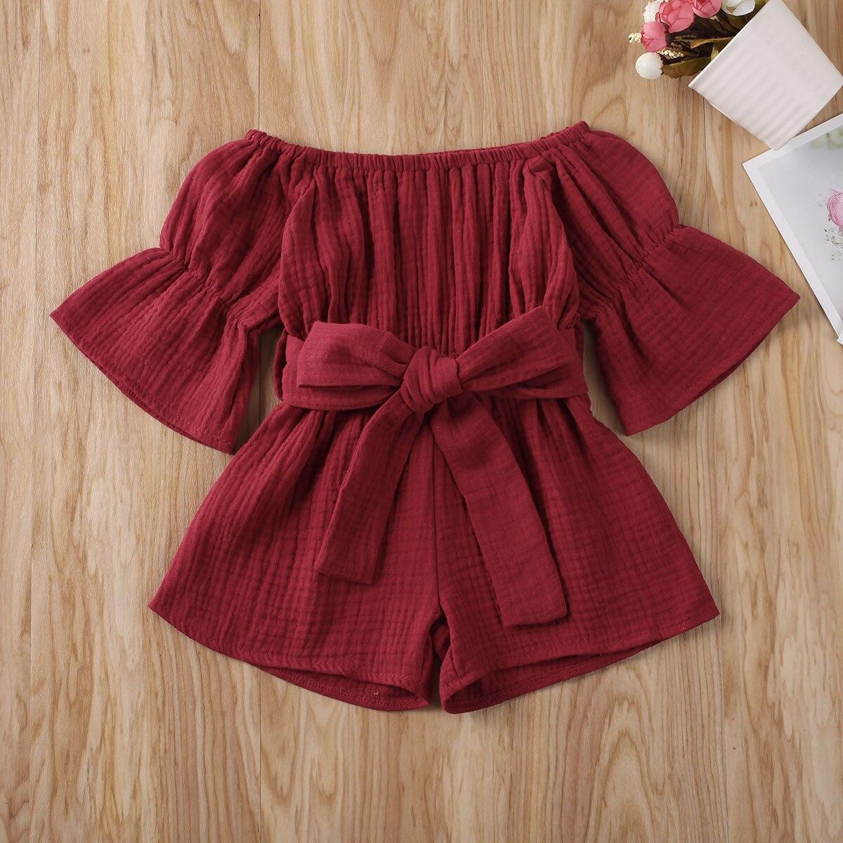 Pudcoco, одежда для маленьких девочек, летний однотонный комбинезон с открытыми плечами и коротким рукавом, комбинезон, наряд, костюм от солнца,...