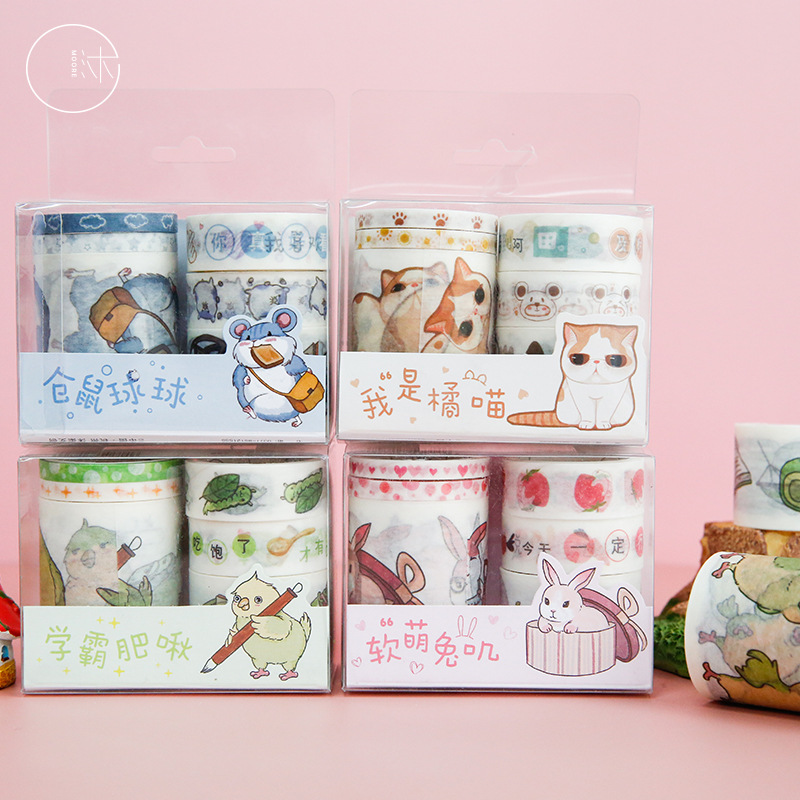 Mohamm 6PCS Candy Color Diary Series Cute Kawaii Cartoon Animal Washi Masking Tape Retro-Writable Handbook Decoration Supplies S