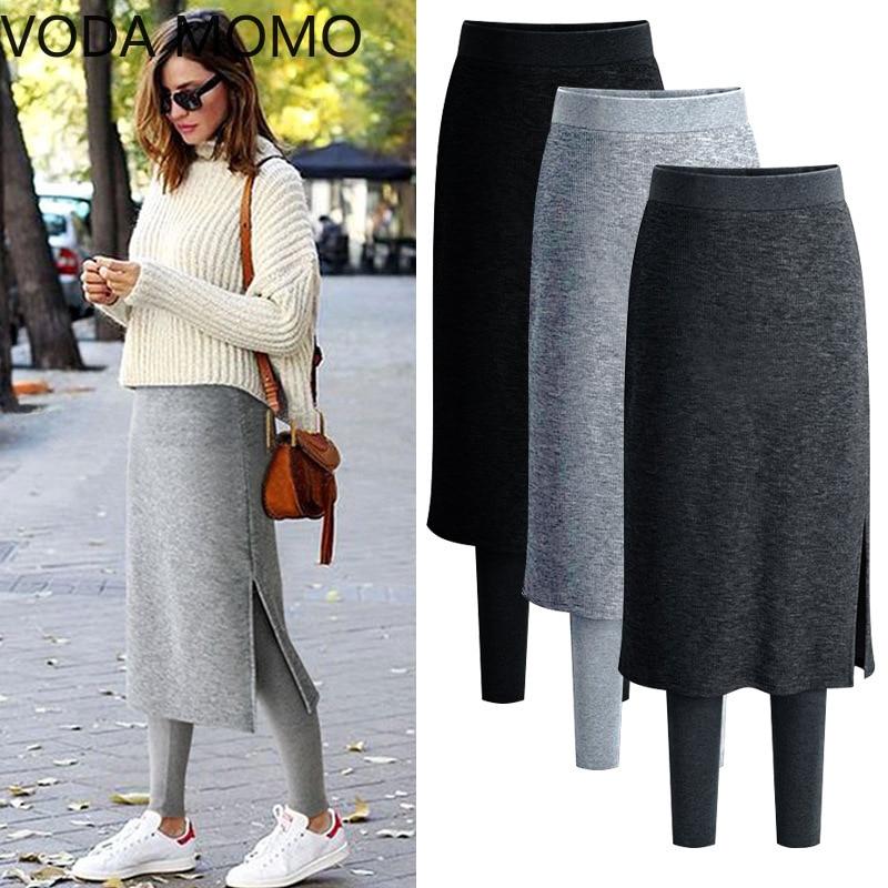 Fake Two Pieces Leggings Womens Fashion Slim-Fit Spring Autumn Plus Size 5xl 6xl  Winter Warm Fleece Long Skirt Leggings