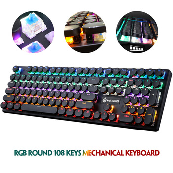 цена на 1505 Backlit Mechanical Keyboard Wired Desktop Computer Notebook Gaming Wired Round Keycaps Suspended Detachable Keyboard