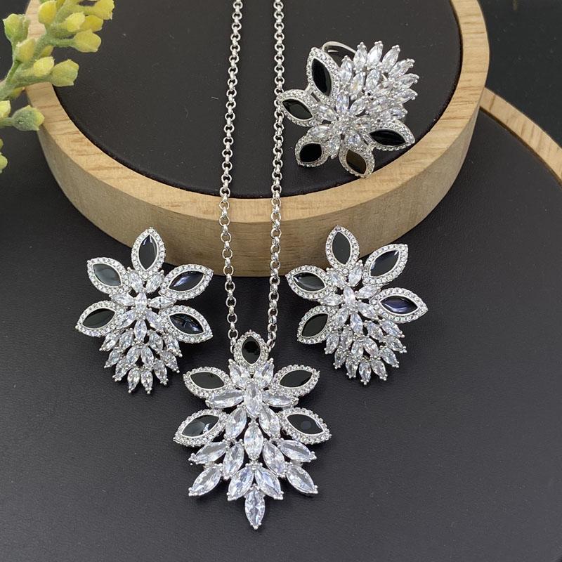 Lanyika Mode Schmuck Set Wunderschöne Hyazinthe Tropf Öl Zirkonia Inlay Halskette mit Ohrringe und Ring für Frauen Party Beste Geschenk
