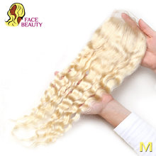 Facebeauty-cheveux brésiliens Remy avec Closure | Deep Wave, blond 613, 8 à 22 pouces, 4x4, nœuds décolorés, partie centrale libre