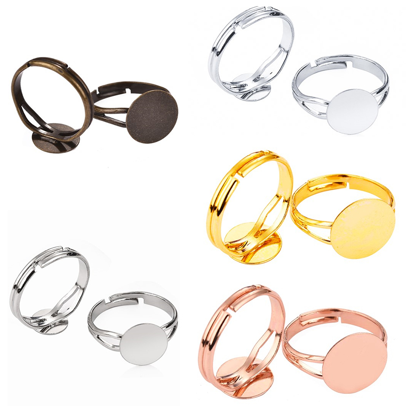 4 X bright silver adjustable cabochon square ring settings fits 12mm glass