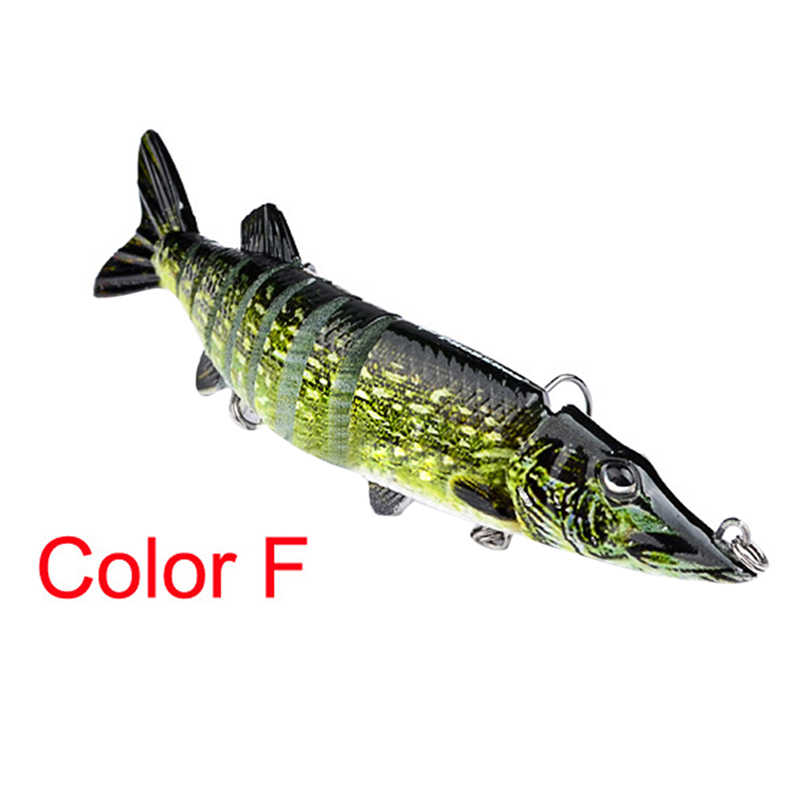 """Details about  /5/"""" Multi-jointed 9-segement Pike Muskie Plastic Fishing Lure Hard Bait RF TYJCR"""