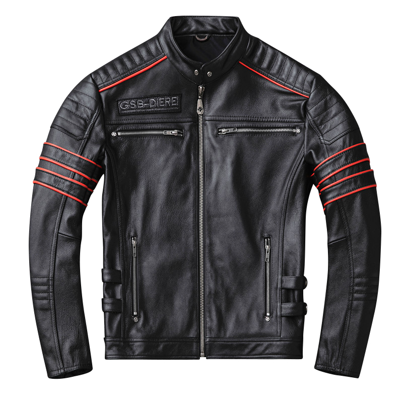 Biker-Jackets Motor Skull Cowhide Jacket.harley Coat.short Genuine-Leather Mens Slim