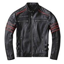 YR! trasporto libero, le vendite. nero Mens giacca di pelle vera. pelle bovina cappotto. breve slim skull motor biker giacche, più il formato