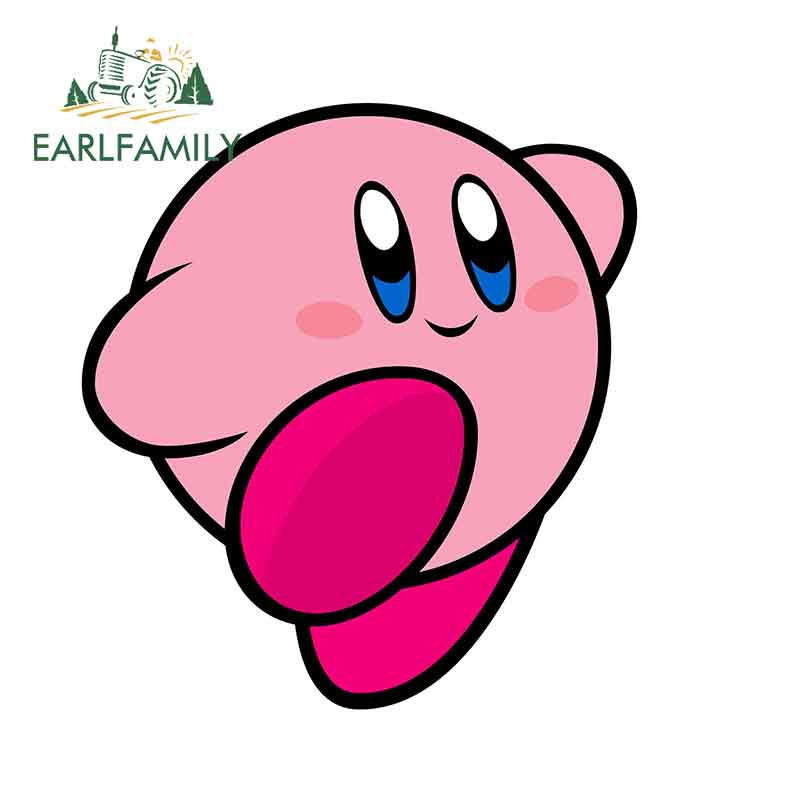 EARLFAMILY 13cm x 11.8cm Voor Kirby Collectible Persoonlijkheid Auto Decal Truck Pinup Krasbestendig Sticker Occlusie Scratch decals