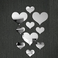 10pcs 3D Acrylic Heart Shaped Mirror Wall Stickers Plastic Removable Heart Art Wall Poster Living Room Bedroom Home Decoration